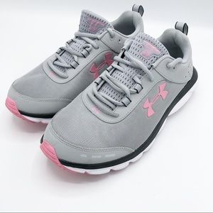 Under Armour Charged Asset Gray & Pink Shoes Sz 11